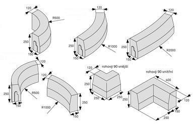 CSB obrubník H25 roh 90° vnitřní přírodní (70)  - cs beton